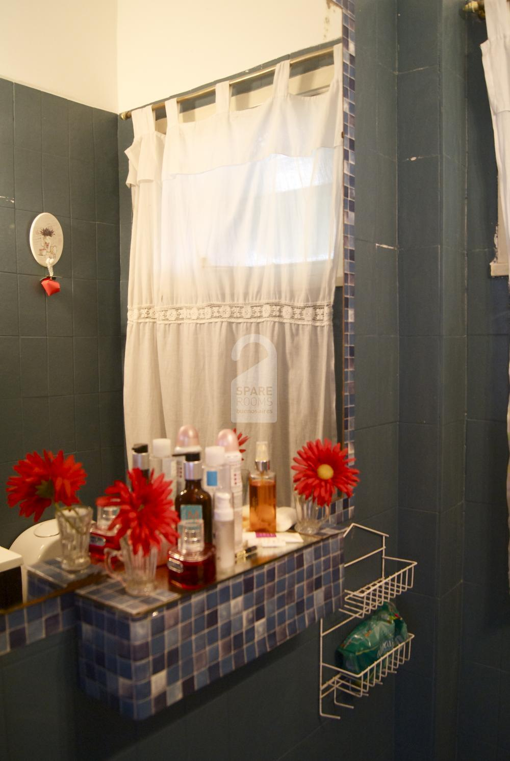 The bathroom at the apartment in Recoleta